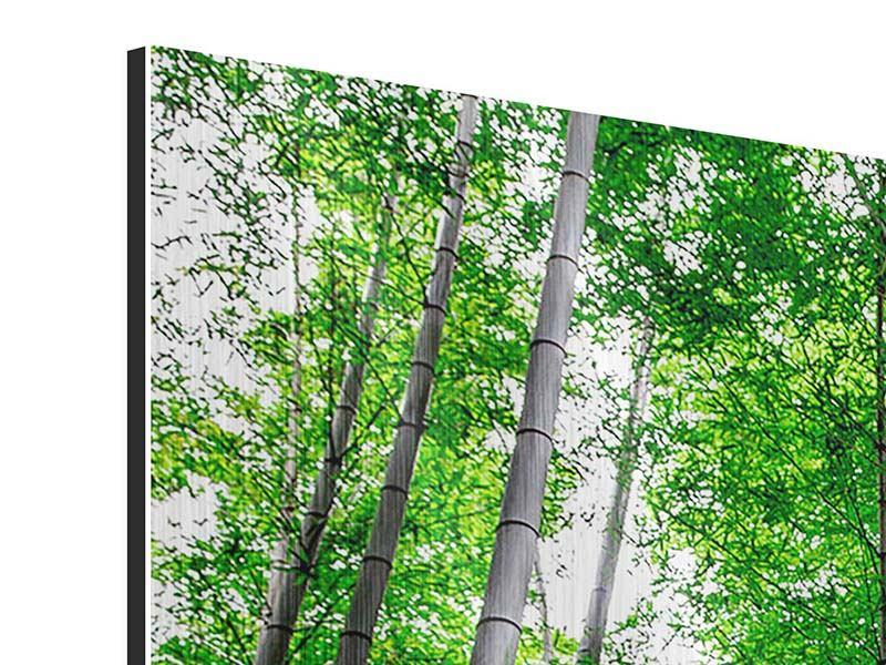 Metallic-Bild Panorama Bambuswald