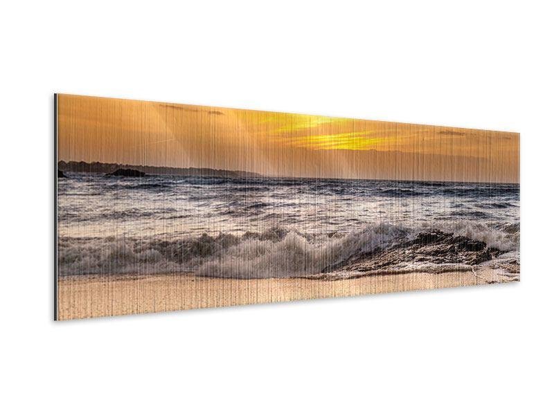 Metallic-Bild Panorama See mit Sonnenuntergang