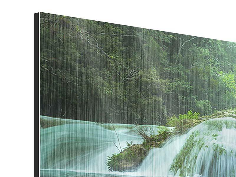 Metallic-Bild Panorama Gigantischer Wasserfall