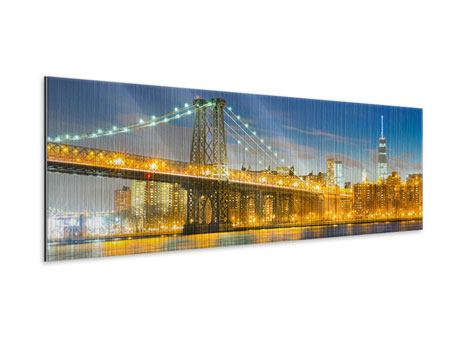 Metallic-Bild Panorama Brooklyn Bridge bei Nacht