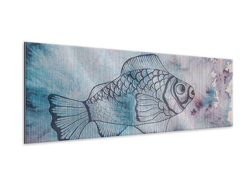 Metallic-Bild Panorama Fisch-Aquarell
