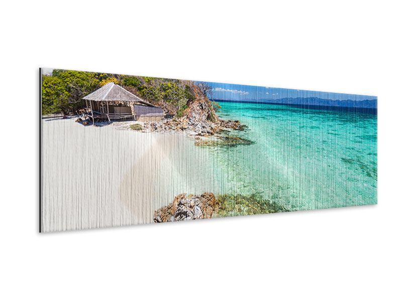 Metallic-Bild Panorama Das Haus am Strand
