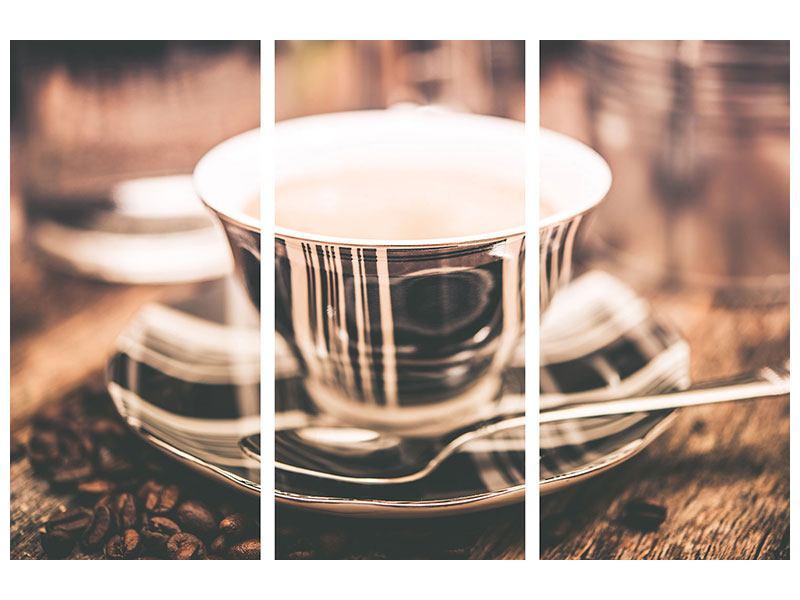 Metallic-Bild 3-teilig Der Kaffee ist fertig
