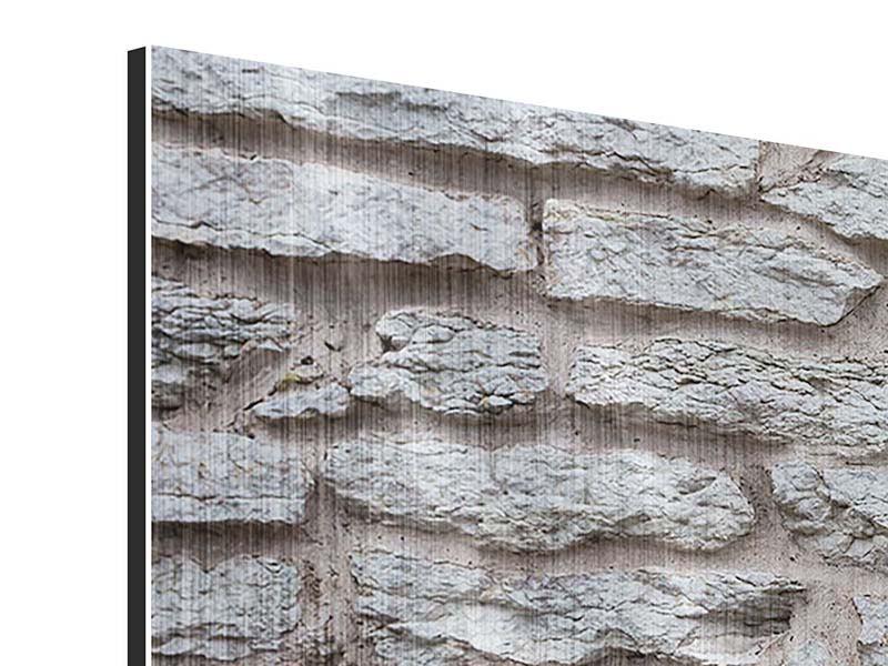 Metallic-Bild 3-teilig Steinmauer