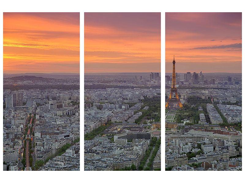 Metallic-Bild 3-teilig Skyline Paris bei Sonnenuntergang