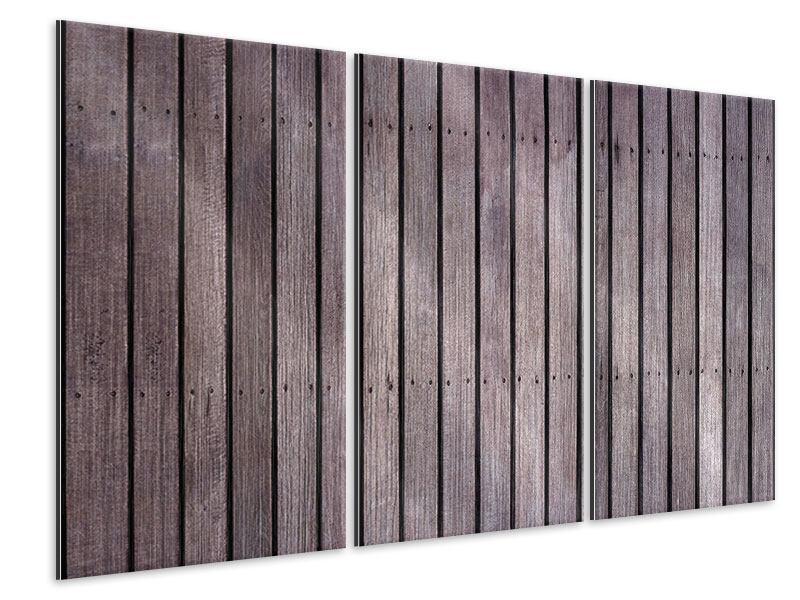 Metallic-Bild 3-teilig Holzwand
