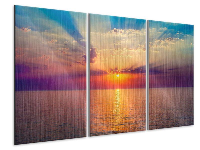 Metallic-Bild 3-teilig Mystischer Sonnenaufgang