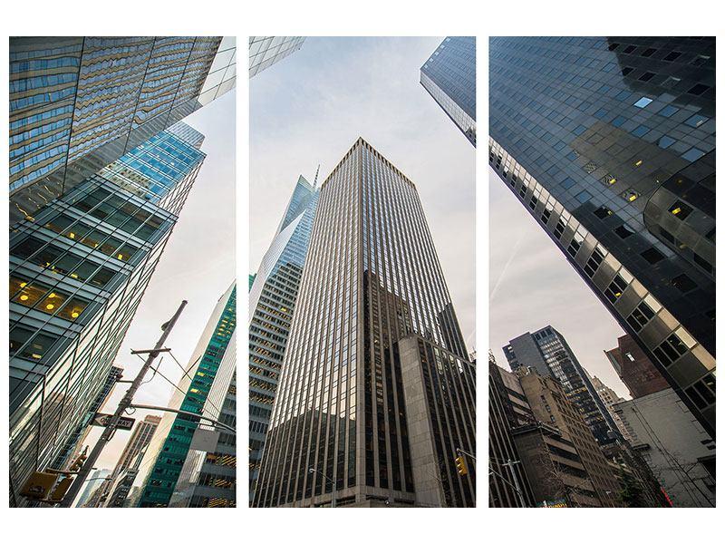 Metallic-Bild 3-teilig Hochhäuser