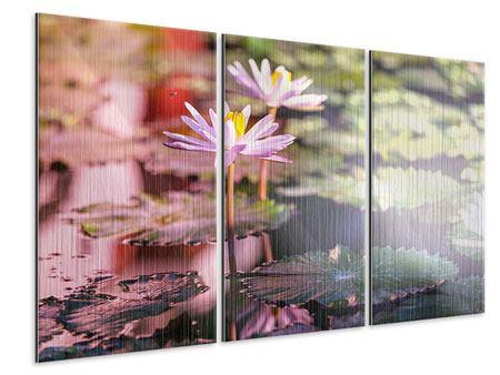 Metallic-Bild 3-teilig Seerosen im Teich