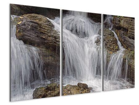 Metallic-Bild 3-teilig Wasserfall XXL