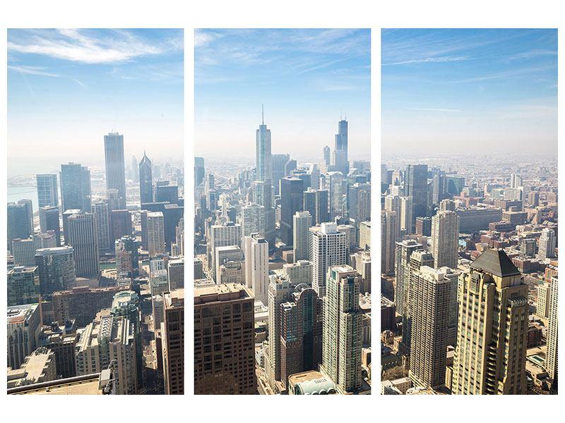 Metallic-Bild 3-teilig Wolkenkratzer Chicago