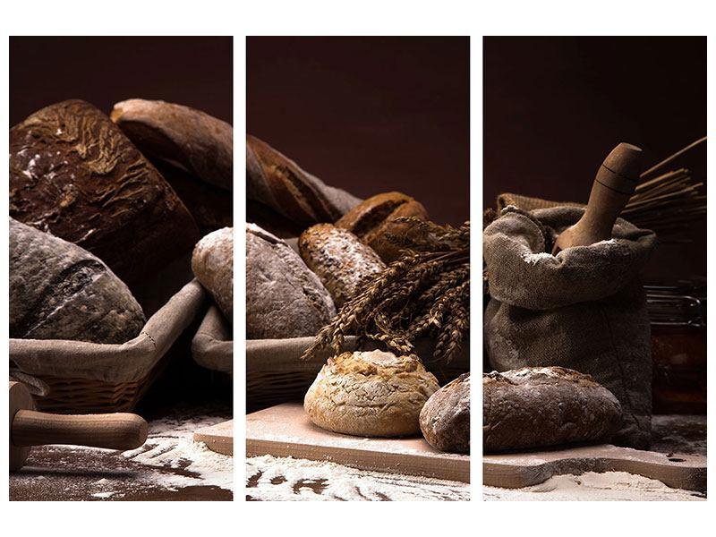 Metallic-Bild 3-teilig Brotbäckerei