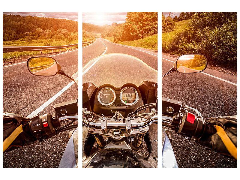 Metallic-Bild 3-teilig Motorrad-Tour