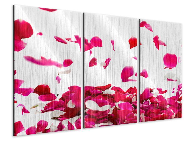 Metallic-Bild 3-teilig Für mich soll`s rote Rosen regnen