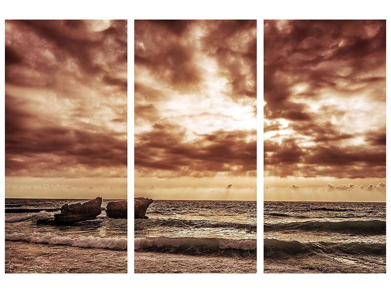 Metallic-Bild 3-teilig Meeresrauschen