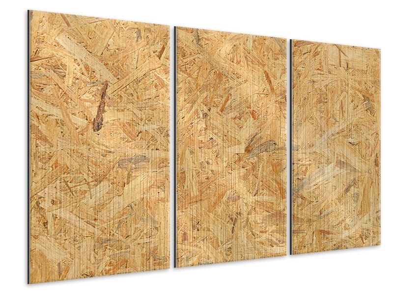 Metallic-Bild 3-teilig Gepresstes Holz