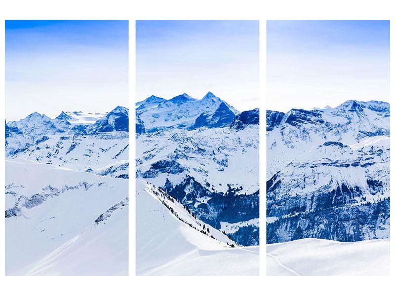Metallic-Bild 3-teilig Die Schweizer Alpen