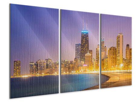 Metallic-Bild 3-teilig Skyline Chicago in der Nacht