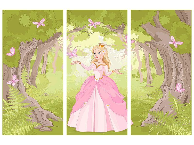 Metallic-Bild 3-teilig Princess