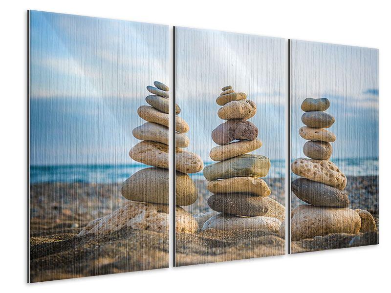 Metallic-Bild 3-teilig Drei Steinstapel