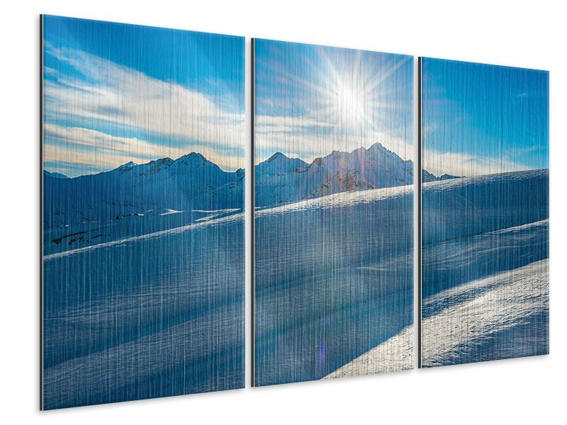 Metallic-Bild 3-teilig Ein Wintermärchen in den Bergen