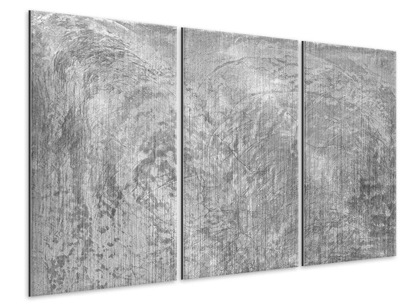 Metallic-Bild 3-teilig Wischtechnik in Grau