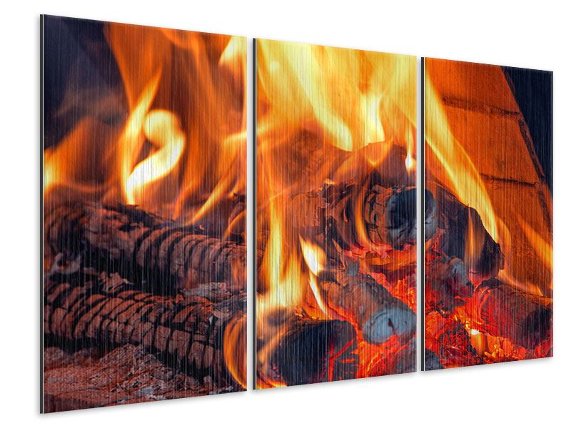 Metallic-Bild 3-teilig Lagerfeuer