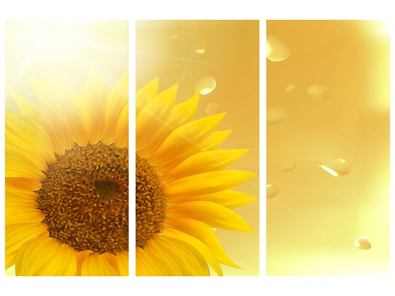 Metallic-Bild 3-teilig Sonnenblume im Morgentau