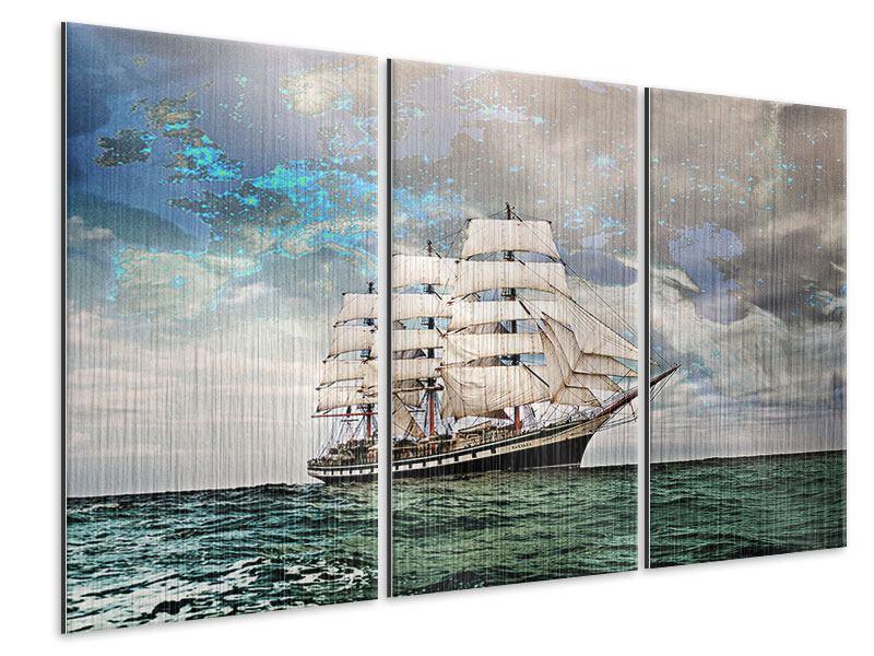 Metallic-Bild 3-teilig Segelschiff