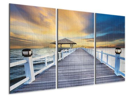 Metallic-Bild 3-teilig Die Brücke ins Meer
