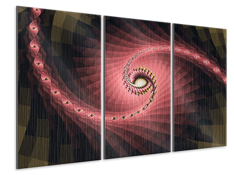 Metallic-Bild 3-teilig Abstrakte Windungen