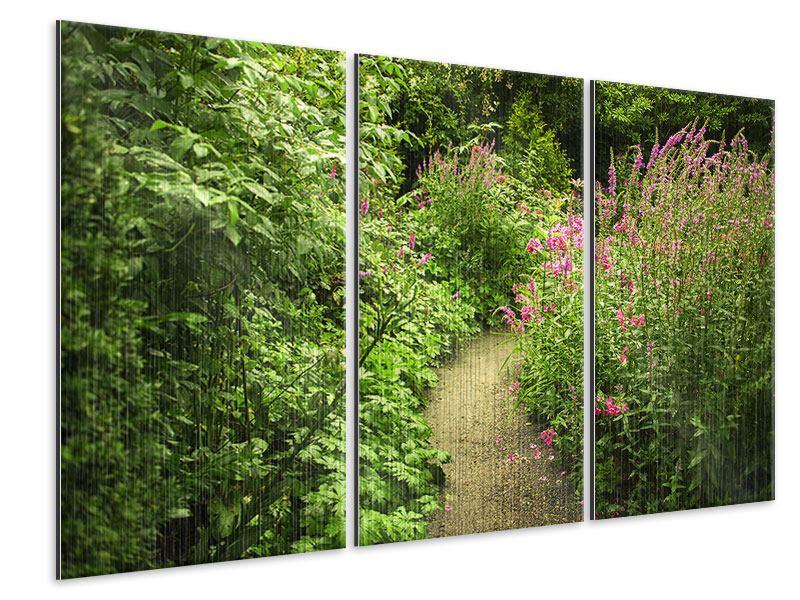 Metallic-Bild 3-teilig Gartenweg