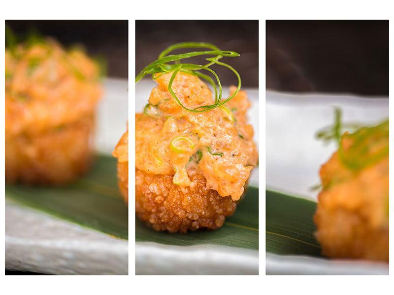 Metallic-Bild 3-teilig Asiatische Küche