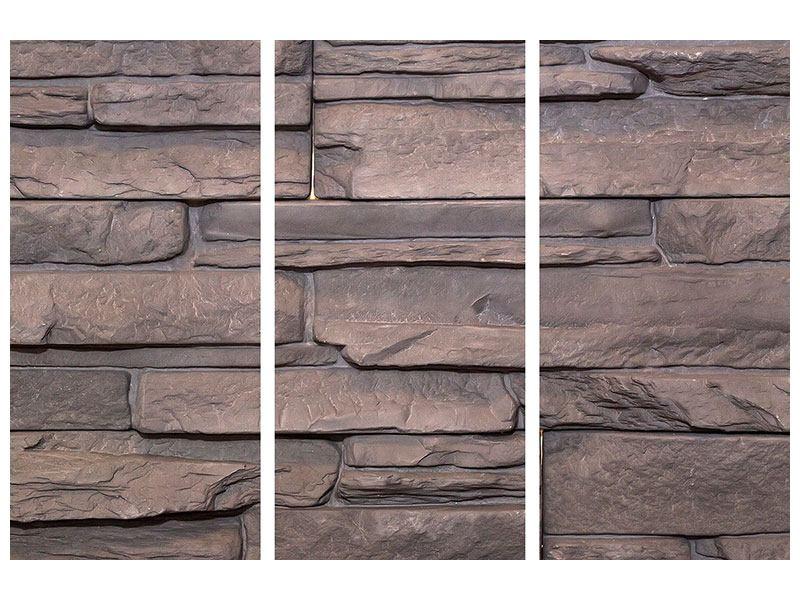 Metallic-Bild 3-teilig Luxusmauer