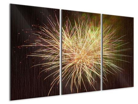 Metallic-Bild 3-teilig Feuerwerk XXL