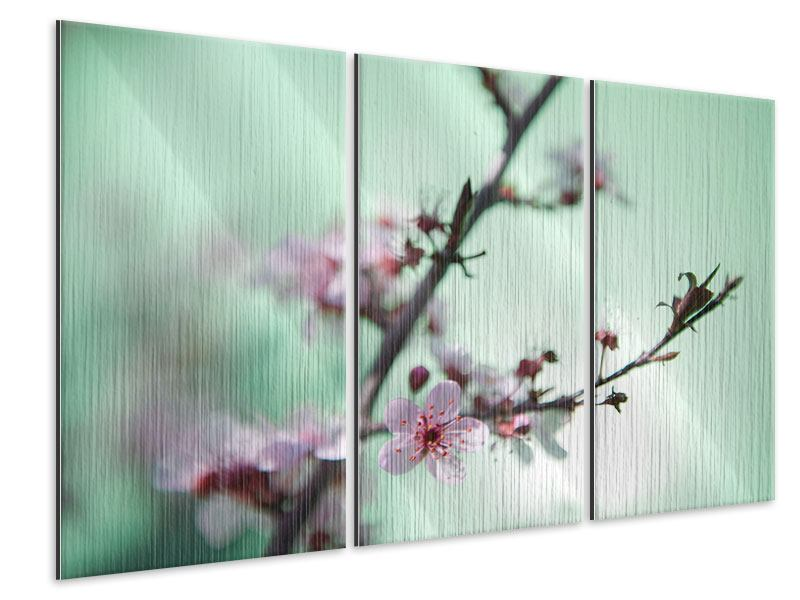 Metallic-Bild 3-teilig Die japanische Kirschblüte