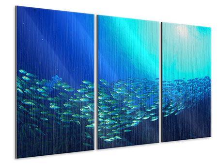 Metallic-Bild 3-teilig Fischschwarm