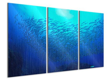 Metallic-Bild 3-teilig Fischwelt