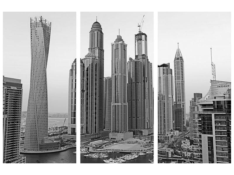 Metallic-Bild 3-teilig Majestätische Wolkenkratzer in Dubai