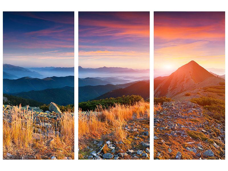 Metallic-Bild 3-teilig Sonnenuntergang in den Alpen