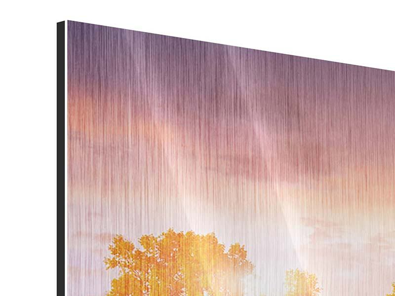 Metallic-Bild 3-teilig Sonnenuntergang am See