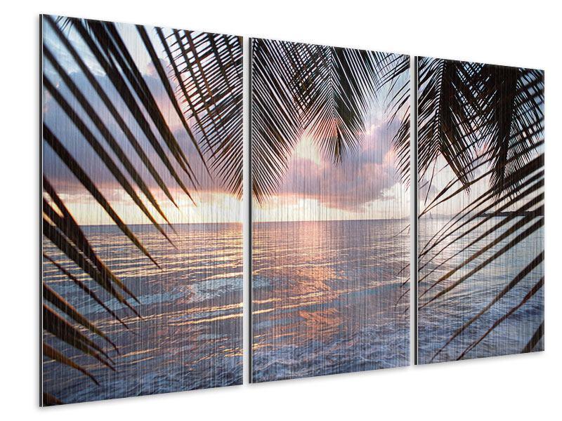 Metallic-Bild 3-teilig Unter Palmenblätter