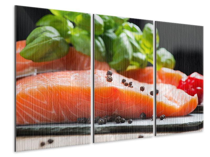 Metallic-Bild 3-teilig Frischer Fisch