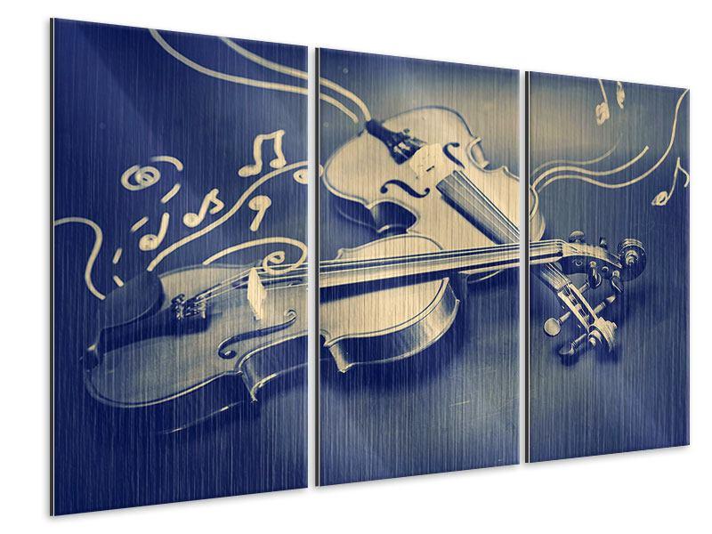 Metallic-Bild 3-teilig Geigen