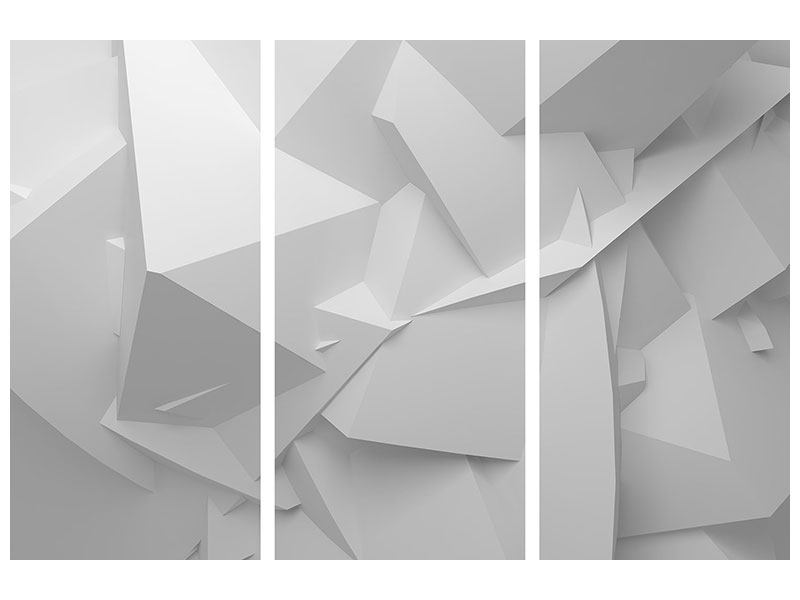 Metallic-Bild 3-teilig 3D-Raster