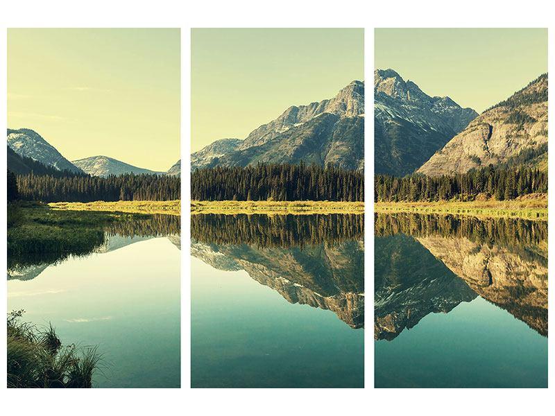 Metallic-Bild 3-teilig Der Bergsee