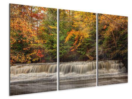 Metallic-Bild 3-teilig Herbst beim Wasserfall