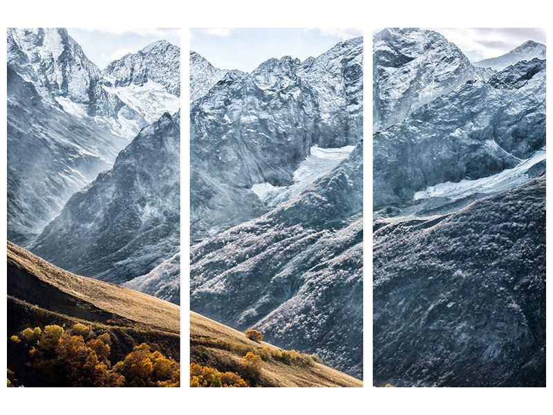 Metallic-Bild 3-teilig Gigantische Berggipfel