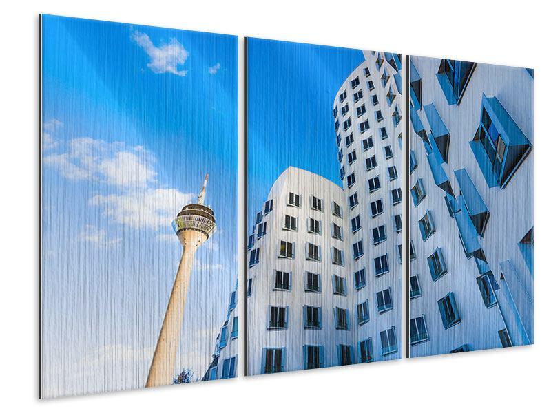Metallic-Bild 3-teilig Neuer Zollhof Düsseldorf