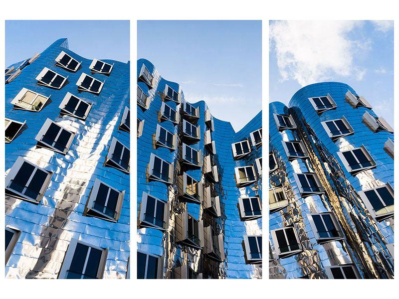 Metallic-Bild 3-teilig Neuer Zollhof